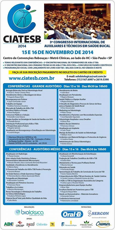 Liliana Donatelli presente no CIATESB 2014 - Biossegurança em Odontologia para equipe auxiliar